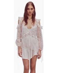 For Love & Lemons Sabina Layered Lace Long Sleeve Mini Dress - White
