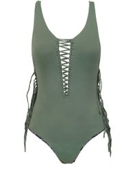 Indah - Margaux Reversible Fringe Lace Up One Piece Swimsuit - Army Green/grey Snakeskin Print - Lyst
