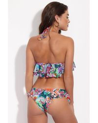 Luli Fama Morena Ruffle Sides Moderate Bikini Bottom - Viva Cuba Tropical Print - Blue