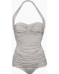 Norma Kamali Bill Mio Halter Sweetheart Neckline One Piece Swimsuit - Grey