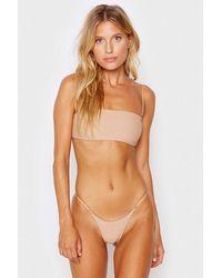 Frankie's Bikinis Scarlett Ribbed Bandeau Bikini Top - Natural