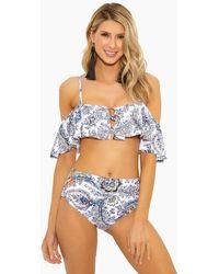 Ella Moss Breezy Boho Ruffle Off Shoulder Bikini Top - White