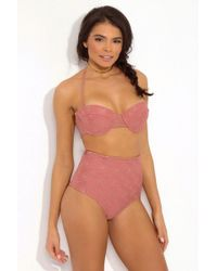Tori Praver Swimwear Zola Embroidered Eyelet Underwire Bandeau Bikini Top - Pink