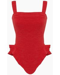 Clube Bossa Barres Ruffle One Piece Swimsuit - Red