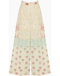Hemant & Nandita Linen Schiffli Wide Trousers - Multicolour