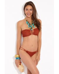 Acacia Swimwear Como Crochet Lace Up Bandeau Bikini Top - Orange