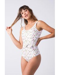Verde Limon Mito Tank Belted One Piece Swimsuit - White