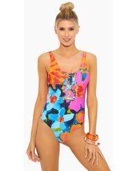 Mara Hoffman Desa Lace Up Front Tank One Piece Swimsuit - Multicolor