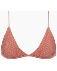 S.I.E SWIM Stella Smocked Triangle Bikini Top - Pink