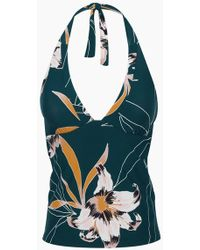 Seafolly Aralia Tankini Top - Emerald Floral Print - Blue