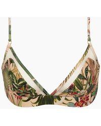 PATBO Mesh Trim Bralette Bikini Top - Paradise Pink Print - Green