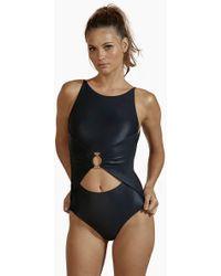 Agua de Coco Roteiro Centre Cut Out One Piece Swimsuit - Black