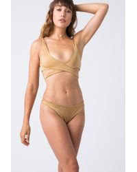 Indah Captain Wrap Bikini Top - Metallic