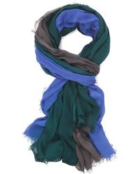 Blue Pacific Cashmere Silk Sarong - Hunter Green Ombre Print