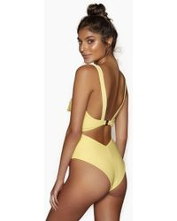 Kopper & Zink - Gidget Front Tie Cut Out One Piece Swimsuit - Lemon - Lyst