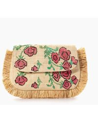 Kayu Amelia Embroidered Straw Clutch - Multicolour