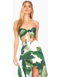 Beach Riot Avery Front Knot Crop Top - Tropical Palm Print - Green