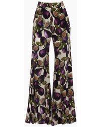 Adriana Degreas Silk Crepe De Chine Wide Leg Trousers - Purple