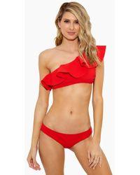 Lisa Marie Fernandez - Arden Flounce Bonded Bikini Top - Tomato - Lyst