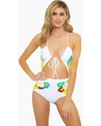 Lolli Smitten Plunging Tie Front Cut Out One Piece Swimsuit - Blooms White