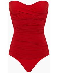 Heidi Klein Body Ruched Bandeau One Piece Swimsuit - Red