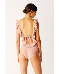 Suboo Frill Scoop Ruffle One Piece Swimsuit - Pink