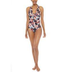 Tori Praver Swimwear Victoria Ruffle Strap One Piece Swimsuit - Storm Milos Floral Print - Multicolour