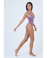 Dolce Vita Kona Flora Macrame High Cut One Piece Swimsuit - Pink