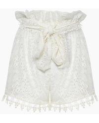 Waimari Cindy Lace Belted High Waist Shorts - White