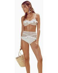 For Love & Lemons Lolita Ruffle Lace High Waist Bikini Bottom - Ivory White