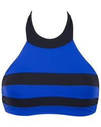 Seafolly Block Party High Neck Bi-color Bikini Top - Blue