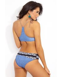 Seea Adria Mid Rise Full Bikini Bottom - Blue