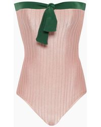 3165e32931 Adriana Degreas - Strapless One Piece Swimsuit - Bicolor Light Pink/emerald  Green - Lyst