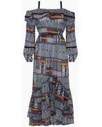 lemlem Kente Lisa Off Shoulder Ruffle Maxi Dress - Blue