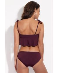 Beth Richards Florence Flowy Bandeau Bikini Top - Purple