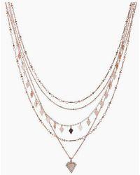 Luv Aj Moonstone Multi Charm Necklace - Rose Gold - Metallic