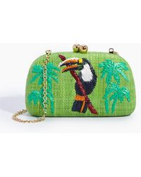 Serpui - Mia Tucan Embroidered Straw Clutch - Lime Green - Lyst