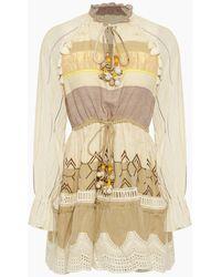 Hemant & Nandita Chiffon Tassel Long Sleeve Mini Dress - Natural
