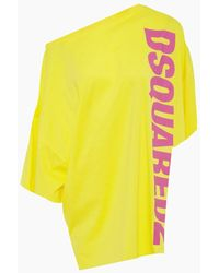 DSquared² Side Logo Asymmetric Short Kaftan - Yellow