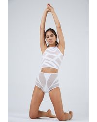 Lee + Lani Tel Aviv Mesh High Neck Crop Bikini Top - White