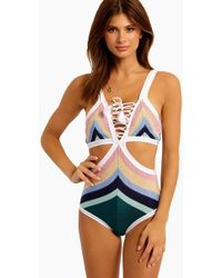 Suboo - Lace Front Cut Out One Piece Swimsuit - Paradiso - Lyst