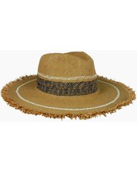 Hat Attack Fringed Stripe Continental Straw Sun Hat - White