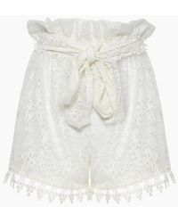 Waimari Cindy Lace Belted High Waist Shorts - White