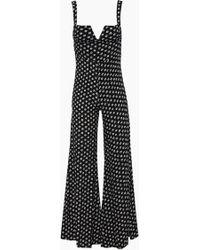Blue Life Gypset V Wire Flared Jumpsuit - Primrose Black Polka Dot Print