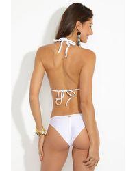 Luli Fama Strappy Ruched Brazilian Bikini Bottom - White