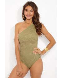 Prism South Beach One Shoulder One Piece Swimsuit - Taupe Zebra Print - Brown