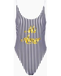 Private Party Mi Amor Tank High Cut One Piece Swimsuit - Navy Blue & White Stripe Print