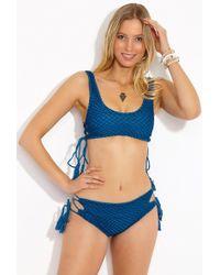Acacia Swimwear Hunter Crochet Lace Up Sides Bikini Top - Blue