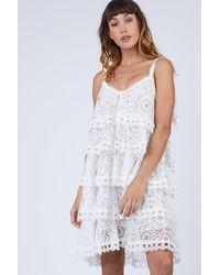 Waimari Audrey Tiered Ruffle Lace Sundress - White