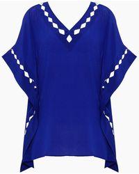 Evarae - Enna Diamond Cut Out Kaftan Dress - Blue Silk - Lyst